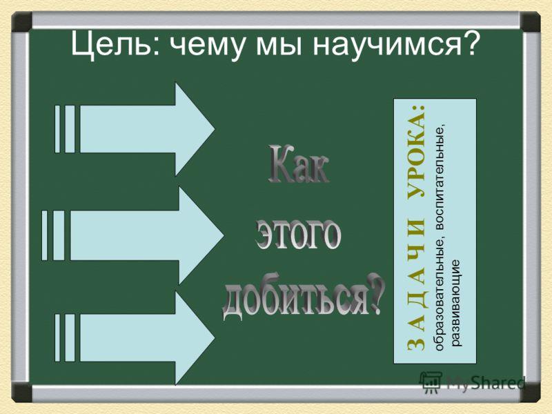 Цель: чему мы научимся? З А Д А Ч И УРОКА: образовательные, воспитательные, развивающие