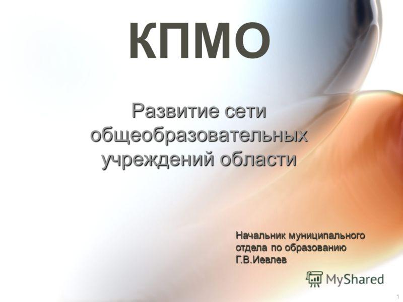 1 КПМО Развитие сети общеобразовательных учреждений области Начальник муниципального отдела по образованию Г.В.Иевлев