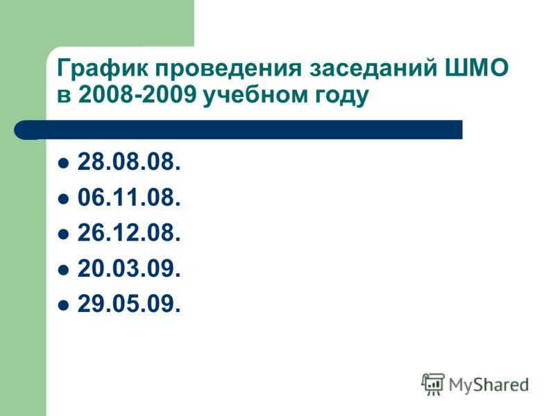 График проведения заседаний ШМО в 2008-2009 учебном году 28.08.08. 06.11.08. 26.12.08. 20.03.09. 29.05.09.