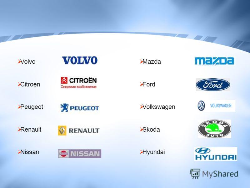 Mazda Ford Volkswagen Skoda Hyundai Volvo Citroen Peugeot Renault Nissan