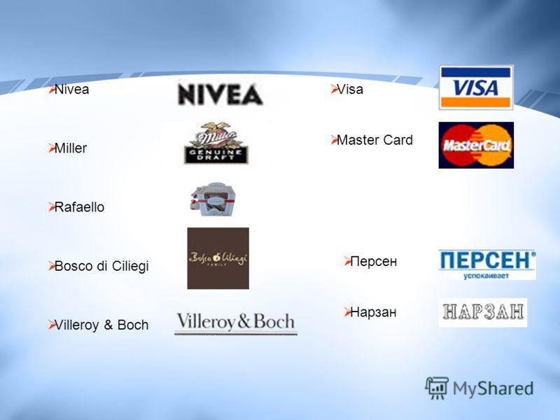 Nivea Miller Rafaello Bosco di Ciliegi Villeroy & Boch Visa Master Card Персен Нарзан