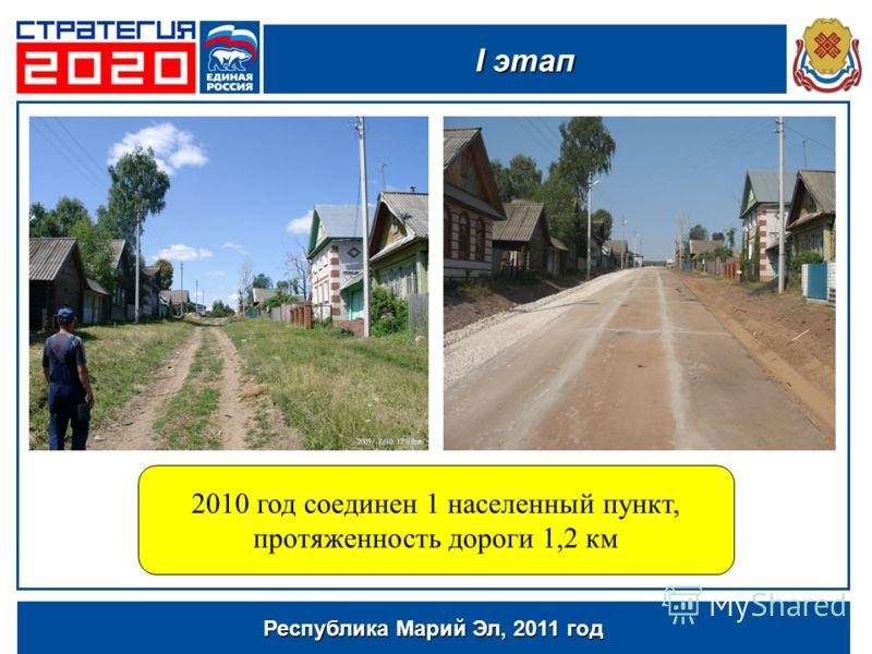 Республика Марий Эл, 2011 год 2010 год соединен 1 населенный пункт, протяженность дороги 1,2 км I этап