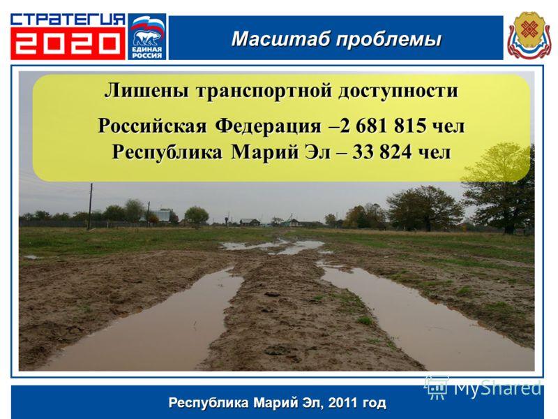 Республика Марий Эл, 2011 год Лишены транспортной доступности Российская Федерация –2 681 815 чел Республика Марий Эл – 33 824 чел Масштаб проблемы