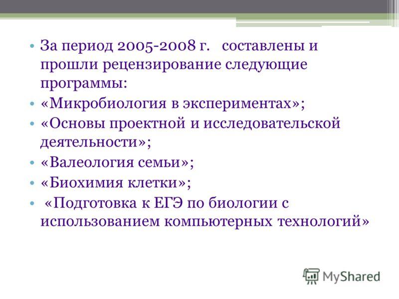 За период 2005-2008 г. составлены и прошли рецензирование следующие программы: «Микробиология в экспериментах»; «Основы проектной и исследовательской деятельности»; «Валеология семьи»; «Биохимия клетки»; «Подготовка к ЕГЭ по биологии с использованием