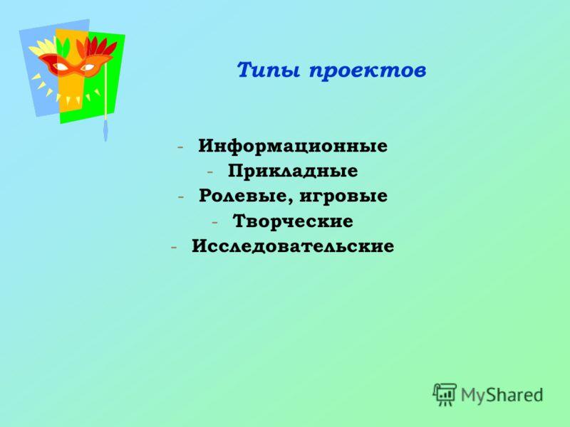 Типы проектов - Информационные - Прикладные - Ролевые, игровые - Творческие - Исследовательские