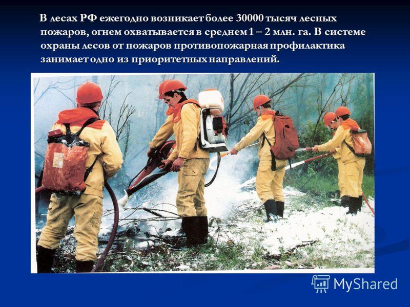 В лесах РФ ежегодно возникает более 30000 тысяч лесных пожаров, огнем охватывается в среднем 1 – 2 млн. га. В системе охраны лесов от пожаров противопожарная профилактика занимает одно из приоритетных направлений. В лесах РФ ежегодно возникает более