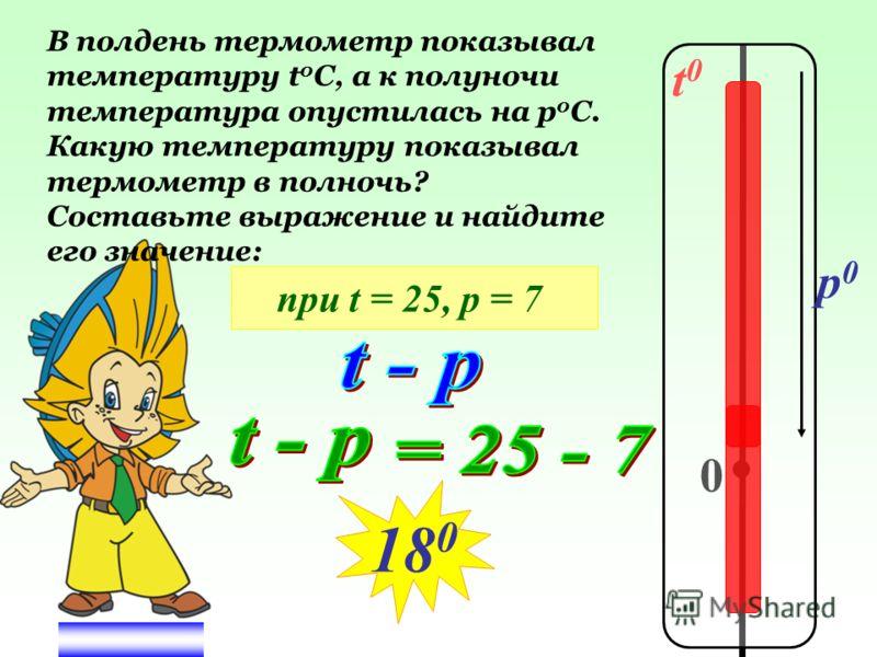 t0t0 0 p0p0 В полдень термометр показывал температуру t 0 C, а к полуночи температура опустилась на р 0 С. Какую температуру показывал термометр в полночь? Составьте выражение и найдите его значение: 18 0