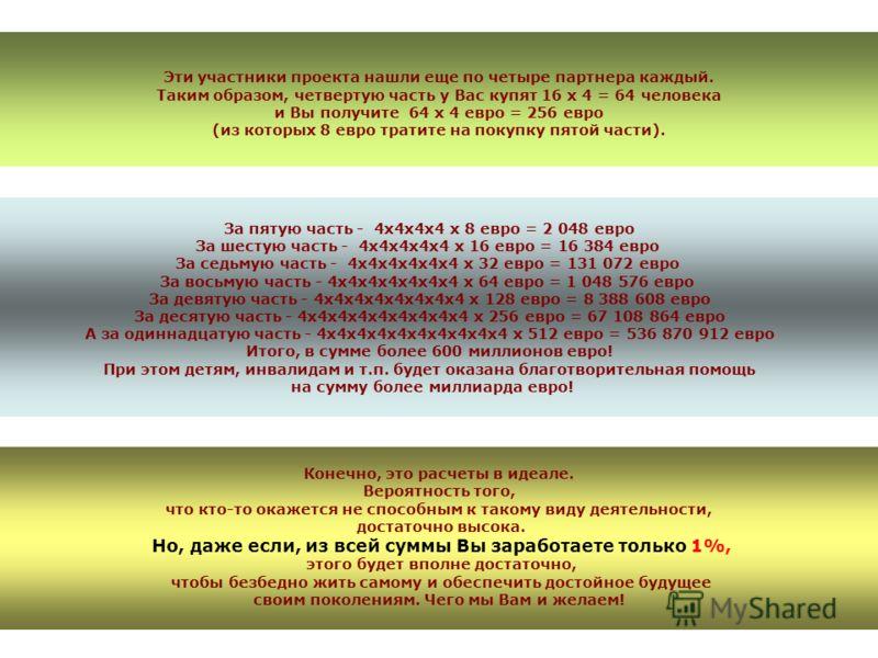 Эти участники проекта нашли еще по четыре партнера каждый. Таким образом, четвертую часть у Вас купят 16 х 4 = 64 человека и Вы получите 64 х 4 евро = 256 евро (из которых 8 евро тратите на покупку пятой части). За пятую часть - 4х4х4х4 х 8 евро = 2