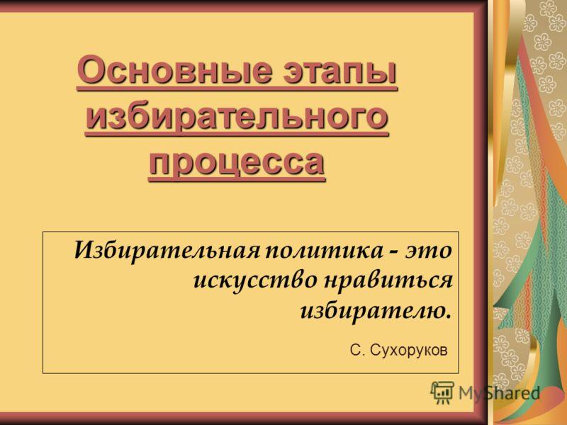 Основные этапы избирательного процесса Избирательная политика - это искусство нравиться избирателю. С. Сухоруков