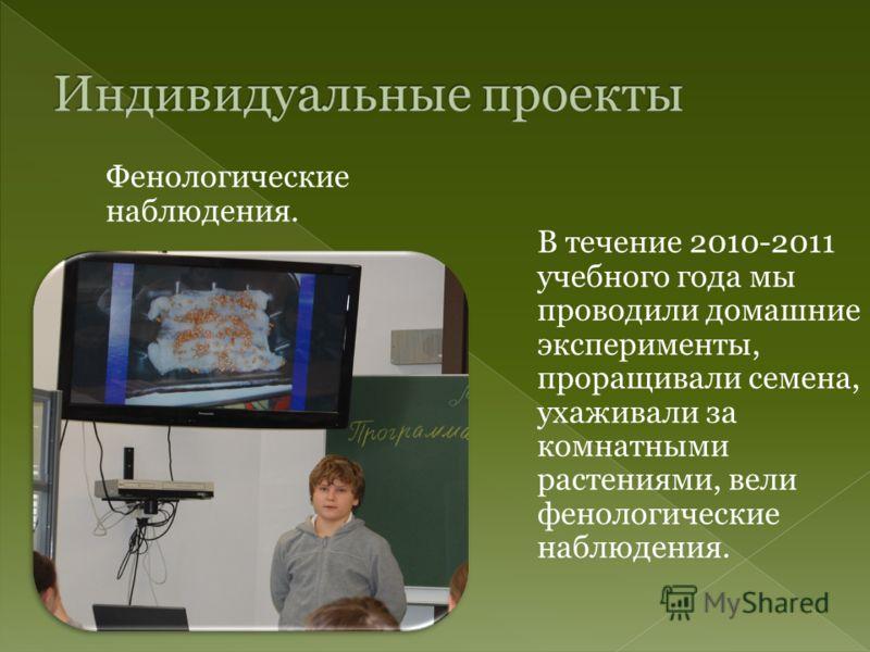 Фенологические наблюдения. В течение 2010-2011 учебного года мы проводили домашние эксперименты, проращивали семена, ухаживали за комнатными растениями, вели фенологические наблюдения.