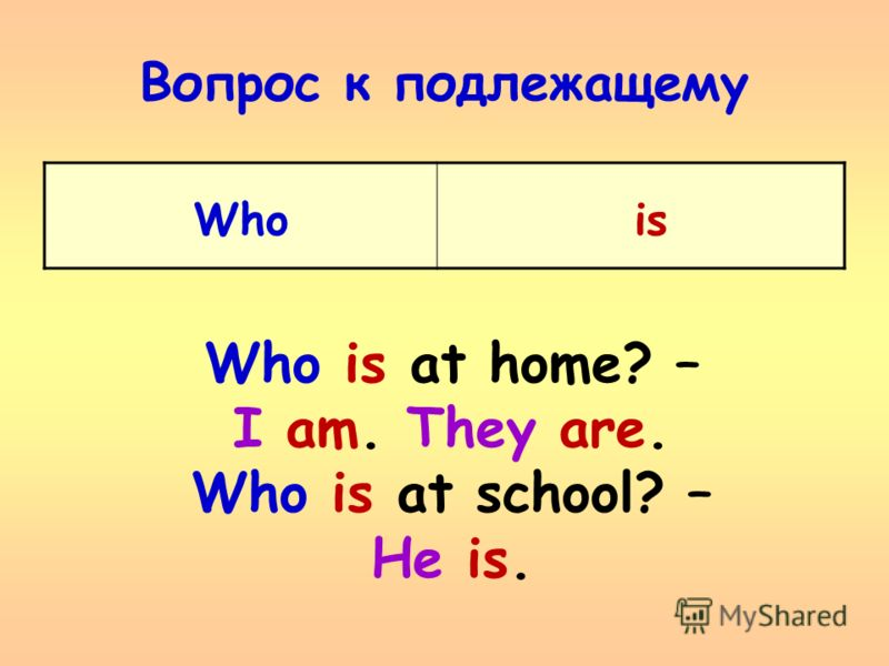 Вопрос к подлежащему Who is Who is at home? – I am. They are. Who is at school? – He is.