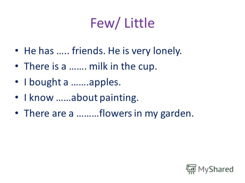 Few/ Little He has ….. friends. He is very lonely. There is a ……. milk in the cup. I bought a …….apples. I know ……about painting. There are a ………flowers in my garden.