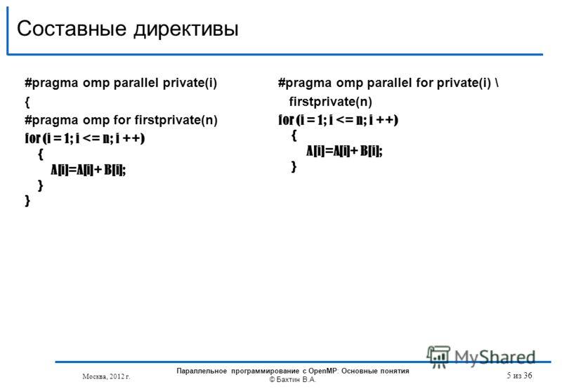 Составные директивы Параллельное программирование с OpenMP: Основные понятия © Бахтин В.А. 5 из 36 Москва, 2012 г. #pragma omp parallel private(i) { #pragma omp for firstprivate(n) for (i = 1; i