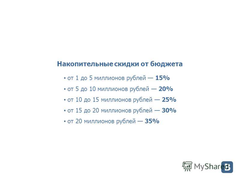 Накопительные скидки от бюджета от 1 до 5 миллионов рублей 15% от 5 до 10 миллионов рублей 20% от 10 до 15 миллионов рублей 25% от 15 до 20 миллионов рублей 30% от 20 миллионов рублей 35%