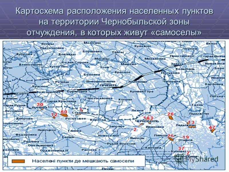 Картосхема расположения населенных пунктов на территории Чернобыльской зоны отчуждения, в которых живут «самоселы»