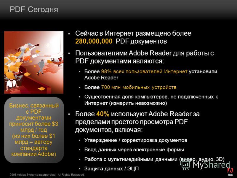 2008 Adobe Systems Incorporated. All Rights Reserved. PDF Сегодня Сейчас в Интернет размещено более 280,000,000 PDF документов Пользователями Adobe Reader для работы с PDF документами являются: Более 98% всех пользователей Интернет установили Adobe R
