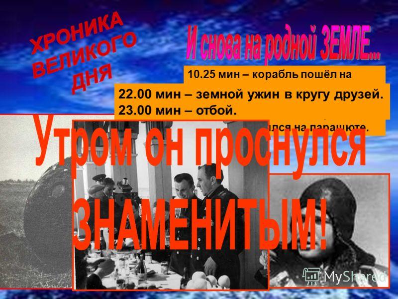 10.25 мин – корабль пошёл на спуск. 10 ч 55 мин – обгоревший шар приземлился на поле, Юрий Гагарин опустился на парашюте. 22.00 мин – земной ужин в кругу друзей. 23.00 мин – отбой.
