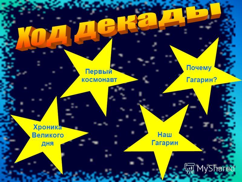 Первый космонавт Хроника Великого дня Почему Гагарин? Наш Гагарин