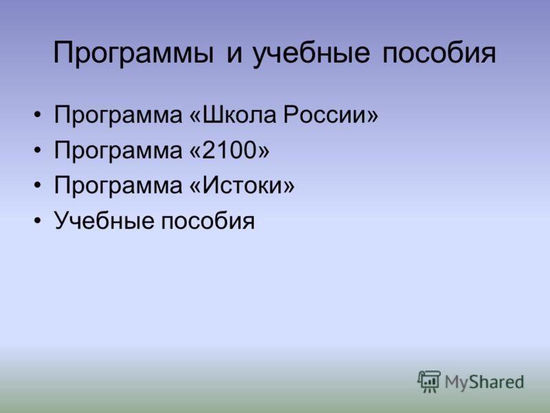 Программы и учебные пособия Программа «Школа России» Программа «2100» Программа «Истоки» Учебные пособия