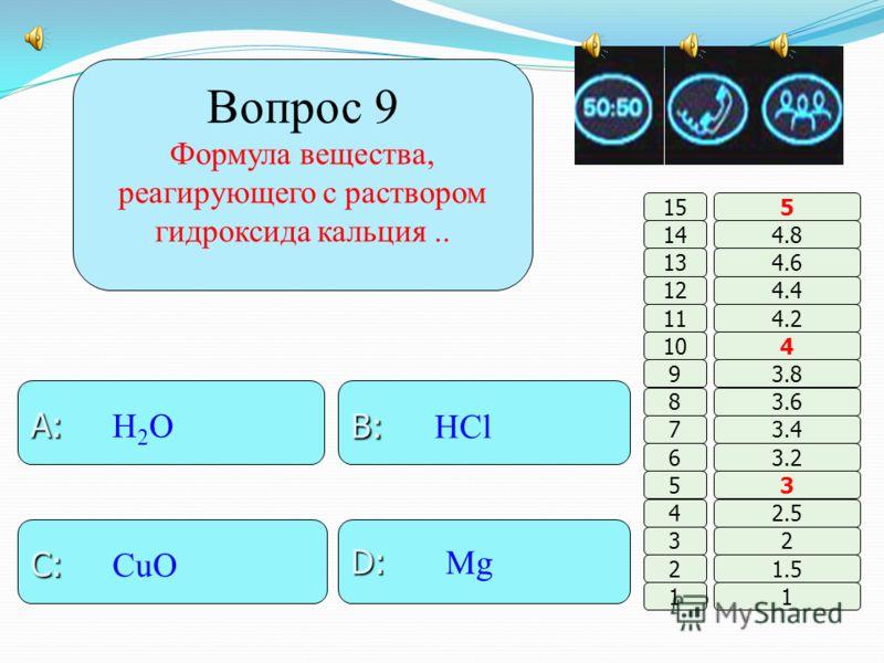 Вопрос 8 Основные свойства наиболее ярко выражены у гидроксида : B: B: кальция A: A: магний D: D: барий C: C: бериллия 11 2 3 4 5 6 7 8 9 10 11 12 13 14 15 1.5 2 2.5 3 3.2 3.4 3.6 3.8 4 4.2 4.4 4.6 4.8 5