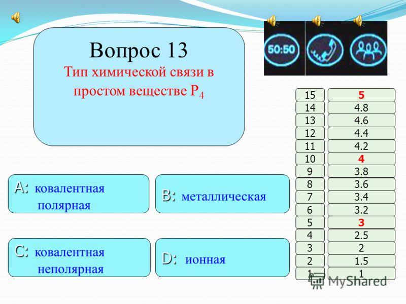 Вопрос 12 Формула вещества, реагирующего с разбавленной серной кислотой B: B: O 2 A: A: Cu D: D: CO 2 C: C: CaO 11 2 3 4 5 6 7 8 9 10 11 12 13 14 15 1.5 2 2.5 3 3.2 3.4 3.6 3.8 4 4.2 4.4 4.6 4.8 5 A: A: Cu