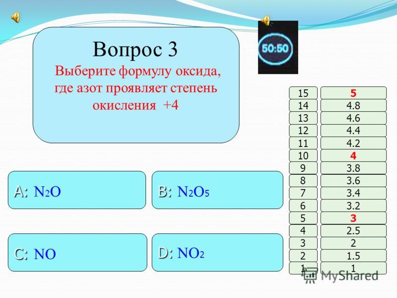 Вопрос 2 Порядковый номер элемента обозначает … B: B: заряд ядра A: A: кол-во нейтронов. D: D: кол-во электронов C: C: кол-во энергетич. уровней 11 2 3 4 5 6 7 8 9 10 11 12 13 14 15 1.5 2 2.5 3 3.2 3.4 3.6 3.8 4 4.2 4.4 4.6 4.8 5