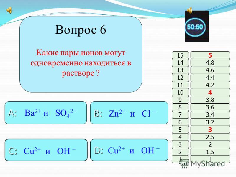 Вопрос 5 Электролиты – это вещества, которые … B: B: оксиды, соли, основания, кислоты A : A : не проводят эл.ток D: D: газы и все органич. соединения C: C: проводят эл.ток в растворах 11 2 3 4 5 6 7 8 9 10 11 12 13 14 15 1.5 2 2.5 3 3.2 3.4 3.6 3.8 4
