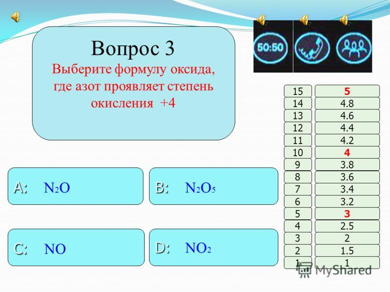 Вопрос 2 Порядковый номер элемента обозначает … B: B: заряд ядра A: A: кол-во нейтронов D: D: кол-во электронов C: C: кол-во энергетич. уровней 11 2 3 4 5 6 7 8 9 10 11 12 13 14 15 1.5 2 2.5 3 3.2 3.4 3.6 3.8 4 4.2 4.4 4.6 4.8 5