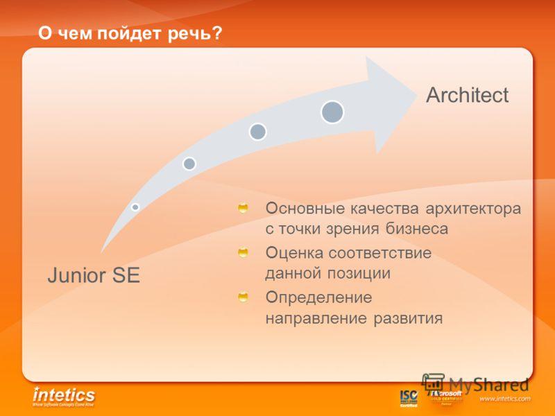 О чем пойдет речь? Junior SE Architect Основные качества архитектора с точки зрения бизнеса Оценка соответствие данной позиции Определение направление развития