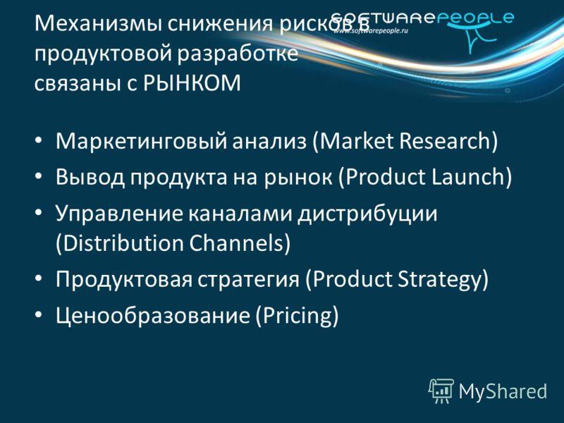 Механизмы снижения рисков в продуктовой разработке связаны с РЫНКОМ Маркетинговый анализ (Market Research) Вывод продукта на рынок (Product Launch) Управление каналами дистрибуции (Distribution Channels) Продуктовая стратегия (Product Strategy) Ценоо