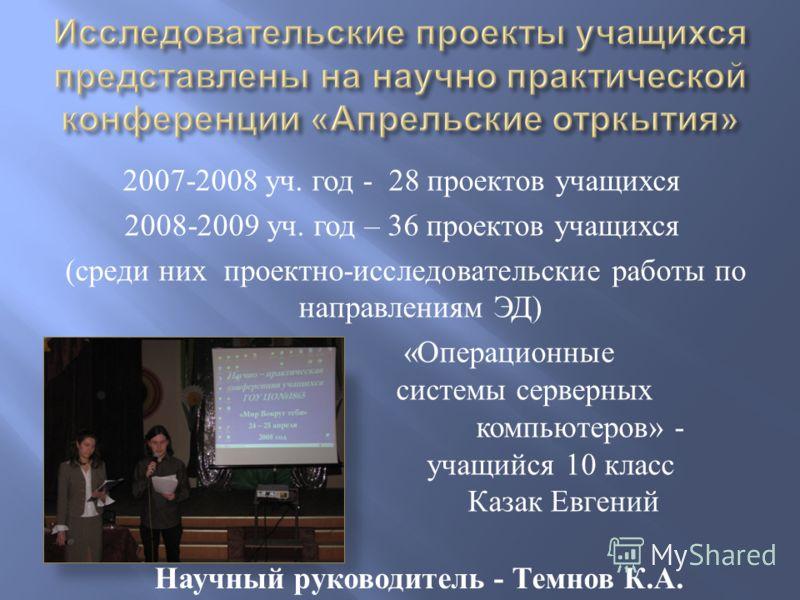 2007-2008 уч. год - 28 проектов учащихся 2008-2009 уч. год – 36 проектов учащихся ( среди них проектно - исследовательские работы по направлениям ЭД ) « Операционные системы серверных компьютеров » - учащийся 10 класс Казак Евгений Научный руководите