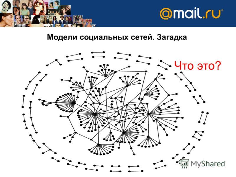 Модели социальных сетей. Загадка Что это?