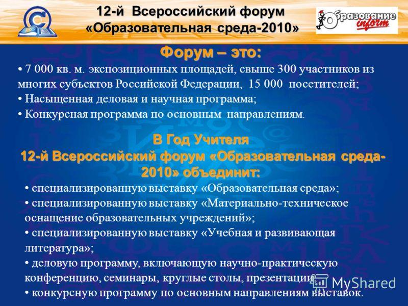 Форум – это: 7 000 кв. м. экспозиционных площадей, свыше 300 участников из многих субъектов Российской Федерации, 15 000 посетителей; Насыщенная деловая и научная программа; Конкурсная программа по основным направлениям. 12-й Всероссийский форум «Обр