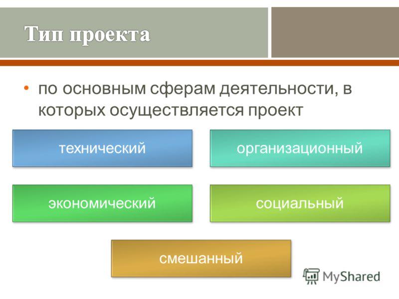 по основным сферам деятельности, в которых осуществляется проект техническийорганизационный экономическийсоциальный смешанный
