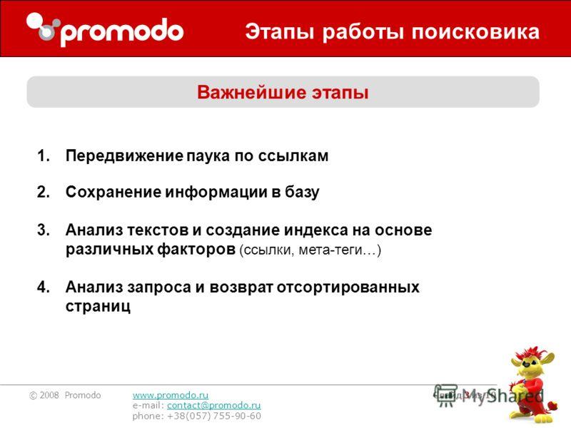 © 2008 Promodo www.promodo.ru e-mail: contact@promodo.rucontact@promodo.ru phone: +38(057) 755-90-60 Слайд 3 из 10 Этапы работы поисковика 1.Передвижение паука по ссылкам 2.Сохранение информации в базу 3.Анализ текстов и создание индекса на основе ра