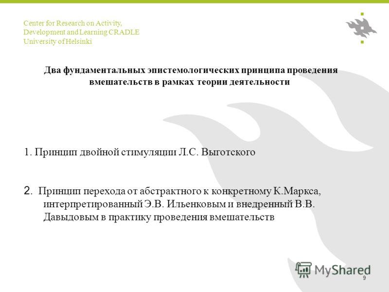 Center for Research on Activity, Development and Learning CRADLE University of Helsinki 9 Два фундаментальных эпистемологических принципа проведения вмешательств в рамках теории деятельности 1. Принцип двойной стимуляции Л.С. Выготского 2. Принцип пе