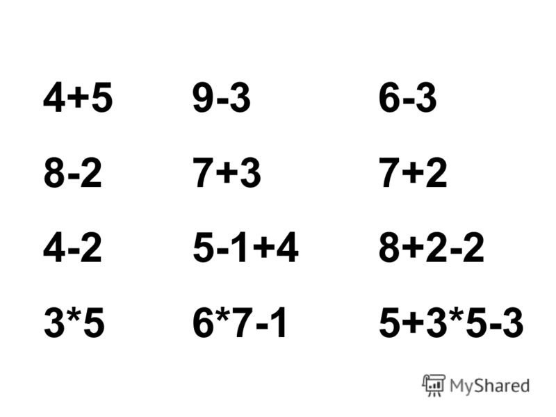 4+5 8-2 4-2 3*5 9-3 7+3 5-1+4 6*7-1 6-3 7+2 8+2-2 5+3*5-3