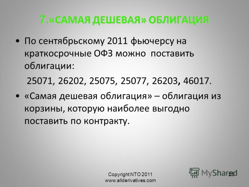 Copyright NTO 2011 www.allderivatives.com 25 7. «САМАЯ ДЕШЕВАЯ» ОБЛИГАЦИЯ По сентябрьскому 2011 фьючерсу на краткосрочные ОФЗ можно поставить облигации: 25071, 26202, 25075, 25077, 26203, 46017. «Самая дешевая облигация» – облигация из корзины, котор