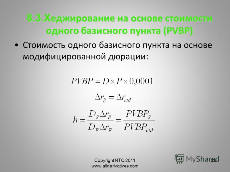 Copyright NTO 2011 www.allderivatives.com 29 8.3.Х еджирование на основе стоимости одного базисного пункта (PVBP) Стоимость одного базисного пункта на основе модифицированной дюрации: