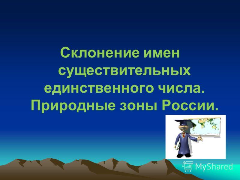 Склонение имен существительных единственного числа. Природные зоны России.