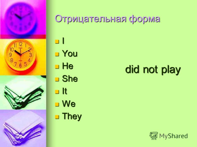 Отрицательная форма I You You He He She She It It We We They They did not play