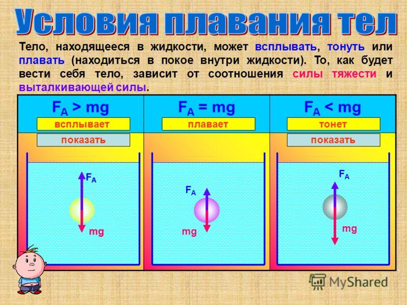 Тело, находящееся в жидкости, может всплывать, тонуть или плавать (находиться в покое внутри жидкости). То, как будет вести себя тело, зависит от соотношения силы тяжести и выталкивающей силы. F A > mgF A = mgF A < mg FAFA mg показать FAFA mg FAFA FA