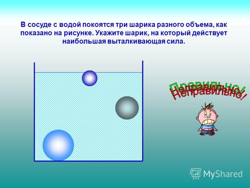 В сосуде с водой покоятся три шарика разного объема, как показано на рисунке. Укажите шарик, на который действует наибольшая выталкивающая сила.