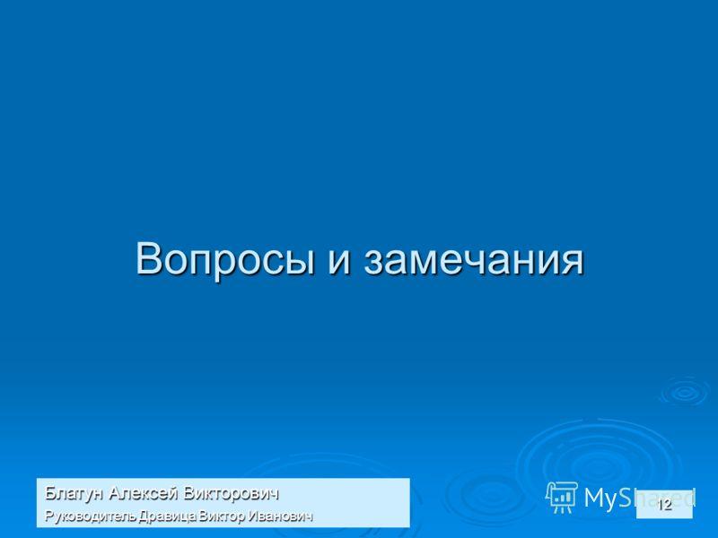 Блатун Алексей Викторович Руководитель Дравица Виктор Иванович 12 Вопросы и замечания