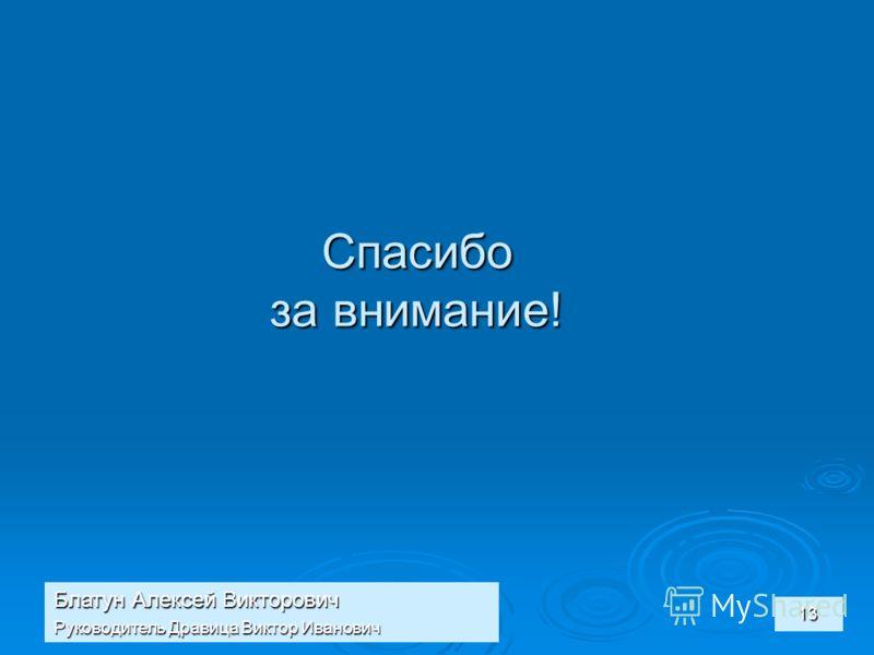 Блатун Алексей Викторович Руководитель Дравица Виктор Иванович 13 Спасибо за внимание!