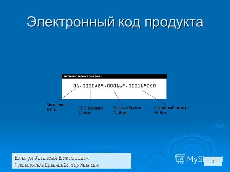 Блатун Алексей Викторович Руководитель Дравица Виктор Иванович 4 Электронный код продукта