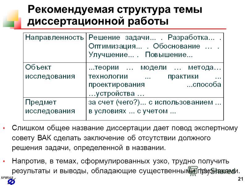 Презентация на тему spiiras Ученый секретарь Андрей Леонидович  21 21 spiiras Рекомендуемая структура