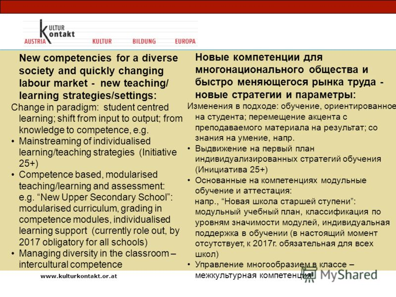 New competencies for a diverse society and quickly changing labour market - new teaching/ learning strategies/settings: Change in paradigm: student centred learning; shift from input to output; from knowledge to competence, e.g. Mainstreaming of indi