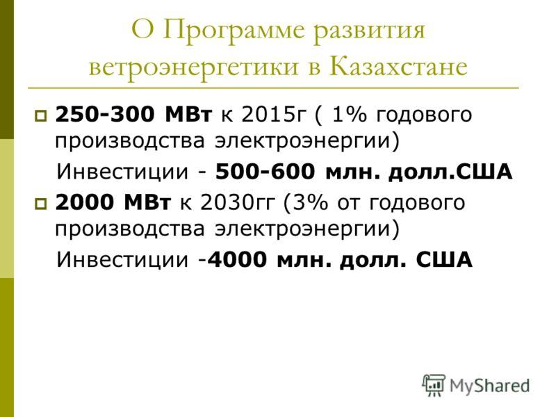 О Программе развития ветроэнергетики в Казахстане 250-300 МВт к 2015г ( 1% годового производства электроэнергии) Инвестиции - 500-600 млн. долл.США 2000 МВт к 2030гг (3% от годового производства электроэнергии) Инвестиции -4000 млн. долл. США