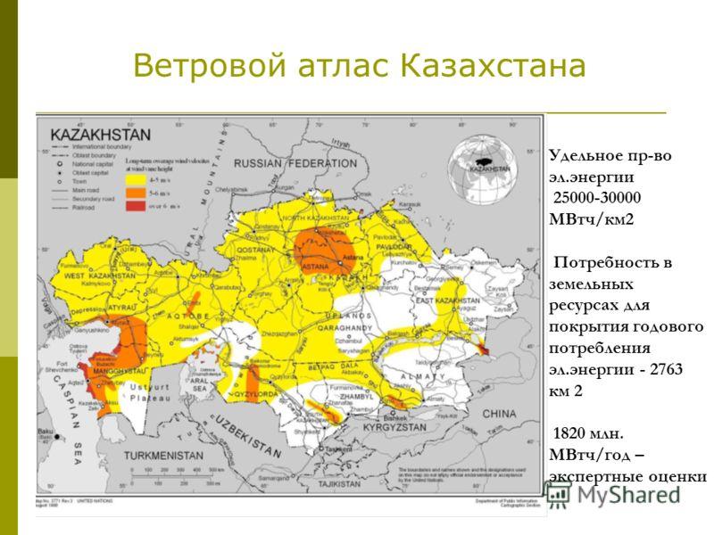 Удельное пр-во эл.энергии 25000-30000 МВтч/км2 Потребность в земельных ресурсах для покрытия годового потребления эл.энергии - 2763 км 2 1820 млн. МВтч/год – экспертные оценки Ветровой атлас Казахстана